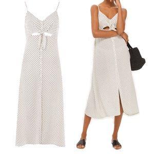 Topshop Star Print Knot Front Midi Dress Petite